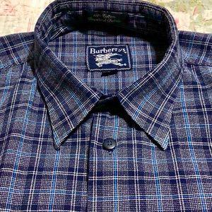 Burberrys Blue/Black Plaid Shirt
